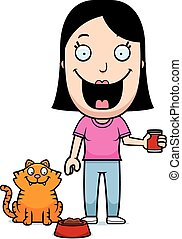 Cartoon Woman Feeding Cat - A happy cartoon woman feeding...