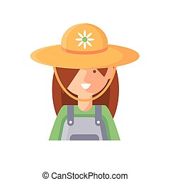 cartoon woman gardener icon, flat detail style