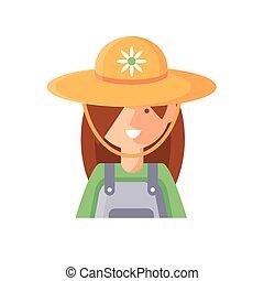 cartoon woman gardener icon, flat detail style