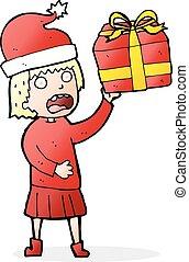 cartoon woman getting ready for christmas