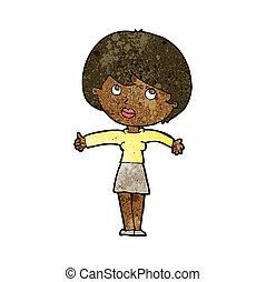 cartoon woman giving thumbs up