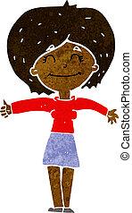 cartoon woman giving thumbs up sign