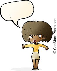 cartoon woman giving thumbs up symbol with speech bubble