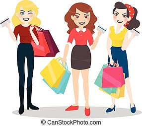 Cartoon Woman Group With Shopping Bag And Credit Card