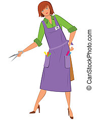 Cartoon  woman hairdresser with scissors
