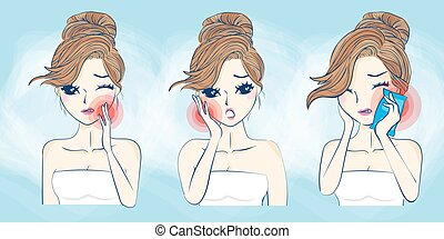 cartoon woman have toothache