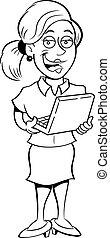 Cartoon woman holding a laptop computer.
