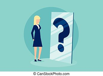 Cartoon woman in front of mirror with question mark