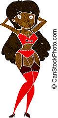 cartoon woman in lingerie