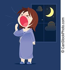 Cartoon Woman In Nightwear Yawning. Concept With Cartoon Design. Vector Illustration