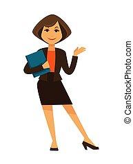 Cartoon woman in office suit with blue folder