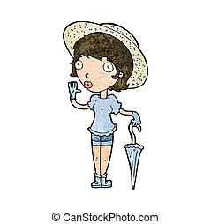 cartoon woman in summer hat waving