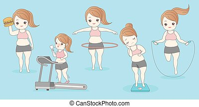 cartoon woman in weight loss
