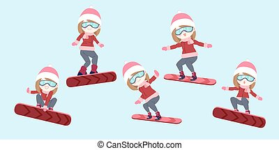 woman is snowboarding - cartoon woman is snowboarding on the...