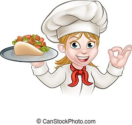 Cartoon Woman Kebab Chef - A cartoon woman chef character...