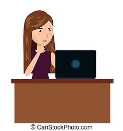 cartoon woman laptop desk e-commerce isolated design