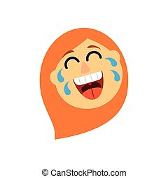cartoon woman laughing, flat style icon