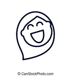 cartoon woman laughing, line style icon