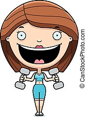 Cartoon Woman Lifting Weights
