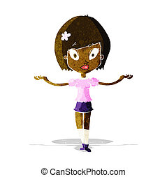 cartoon woman making balancing gesture