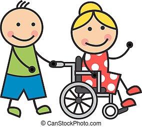 Cartoon woman on a wheelchair - Cartoon woman in a...