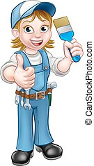 Cartoon Woman Painter Decorator Character