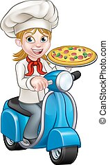 Cartoon Woman Pizza Chef on Moped Scooter