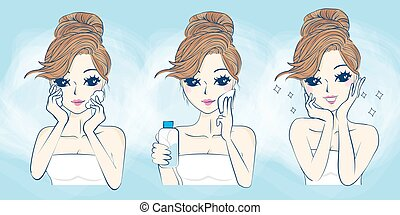 cartoon woman problem skin care