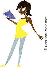 cartoon woman reading book
