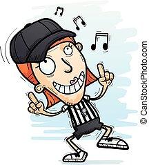 Cartoon Woman Referee Dancing