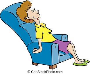 Cartoon woman resting in a chair.
