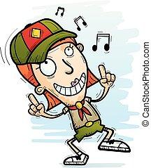 Cartoon Woman Scout Dancing