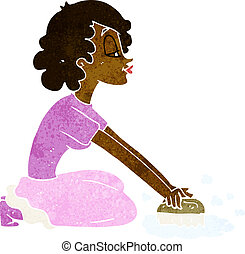 cartoon woman scrubbing floor