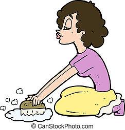 cartoon woman scrubbing floor