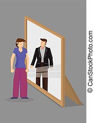 Cartoon Woman Sees Herself as Man in Mirror Reflection...