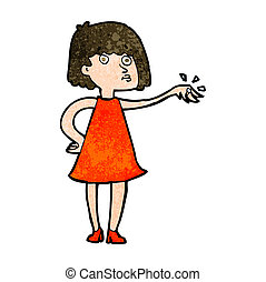 cartoon woman showing off engagement ring