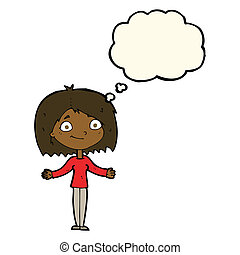 cartoon woman shrugging shoulders with thought bubble