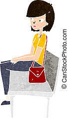 cartoon woman sitting on bench
