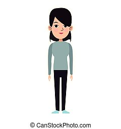 cartoon woman standing icon