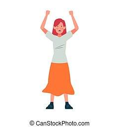 cartoon woman standing wearing long skirt