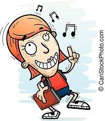 Cartoon Woman Student Dancing