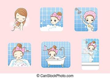 cartoon woman taking bath