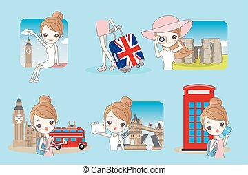 Cartoon woman travel in England