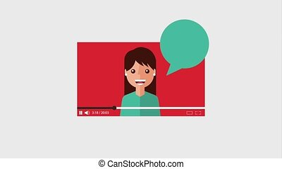 cartoon woman video with speech bubble animation hd