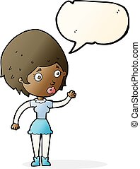 cartoon woman waving with speech bubble