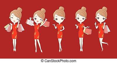 cartoon woman wear cheongsam