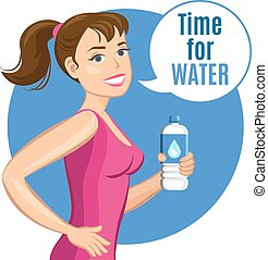 Cartoon woman with a bottle of water, healthy drink and fitness concept. Vector illustration.