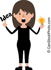 Cartoon woman with an idea illustration vector on white background