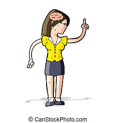 cartoon woman with clever idea