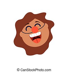 cartoon woman with clown nose, flat style icon